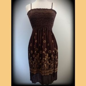 NWT $118 Brown Beige Calla Lily Adj Strap Dress